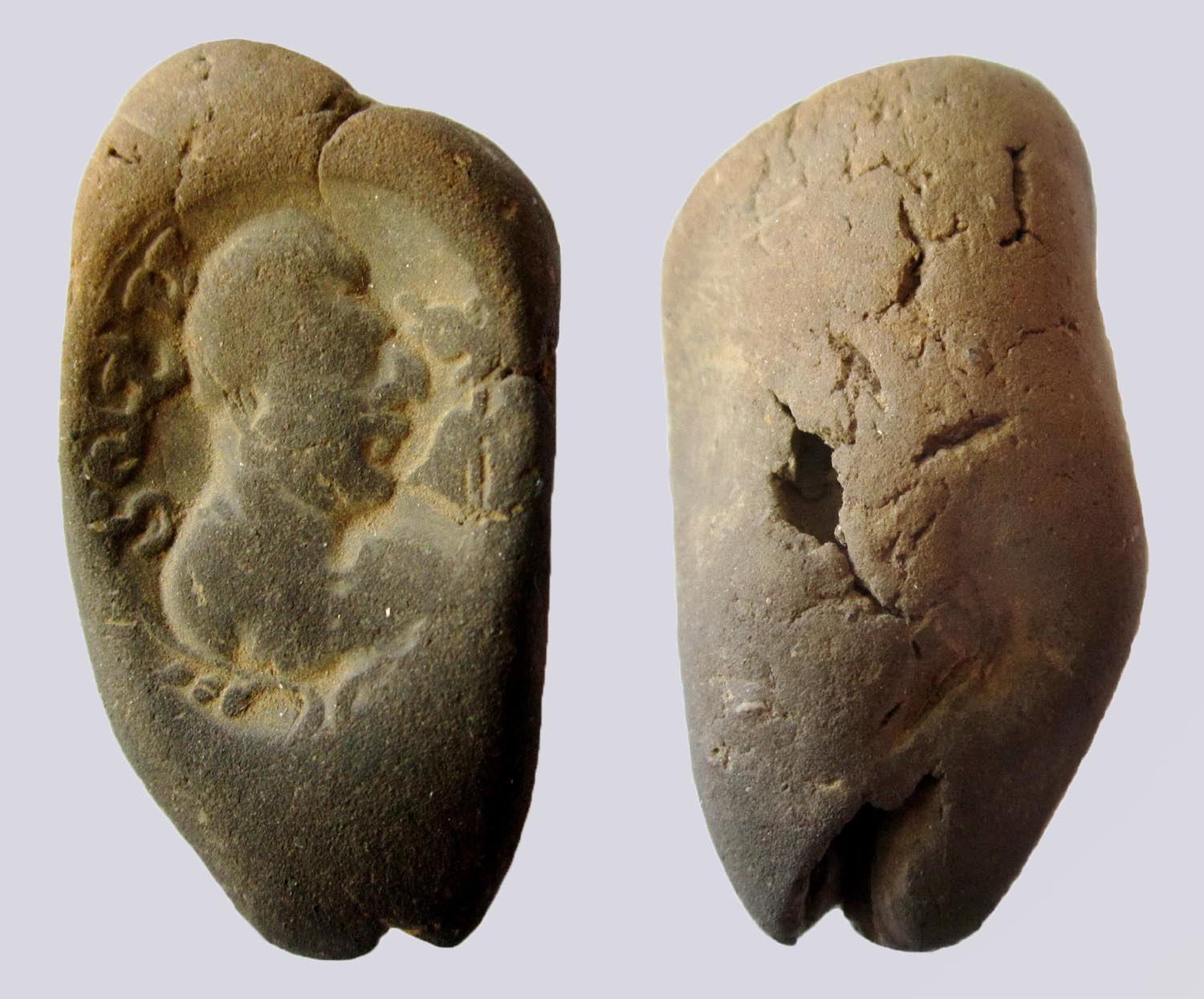 Hunnic/Alkhan clay sealing, with Brahmi inscription