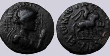 Kushans, AE drachm, Vima Taktho / Soter Megas