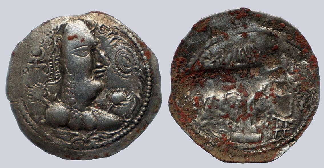 Alchon Huns, AR drachm, Khingila, 440-490AD