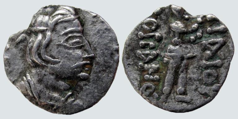 Kushans, AR obol, Heraios / Kujula Kadphises