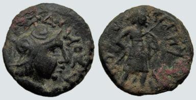 Kushans, AE didrachm, Kujula Kadphises