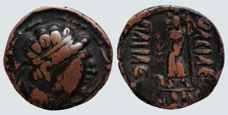 YüehChi / Kushans, AE tetradrachm, Heliokles' imitation