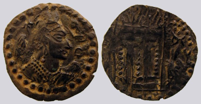 Western Turks, AE drachm, Nezak type with Brahmi legend