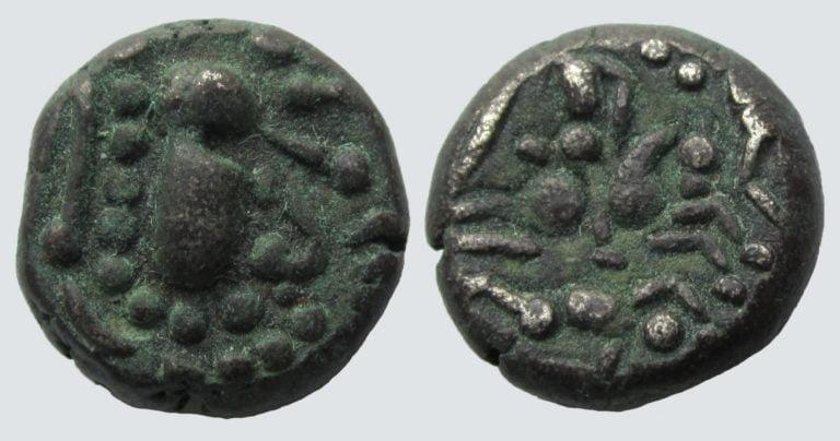 Indo-Sasanians, BI Gadhaiya paisa, w. Horseman reverse
