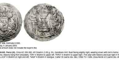 Kidarites, AR drachm, Peroz in Gandhara, Type 3