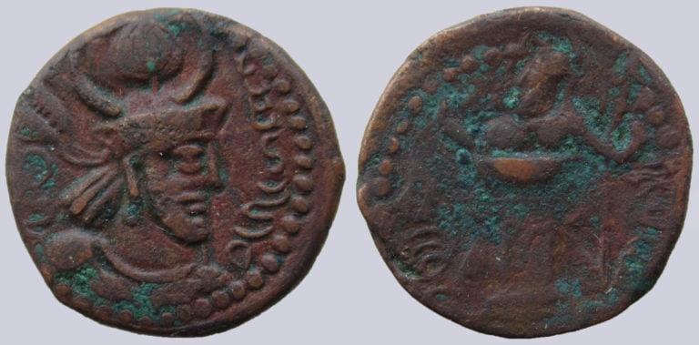 Kushano-Sasanians, AE drachm, Peroz II Kushanshah
