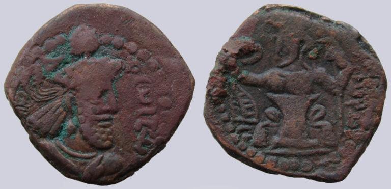 Kushano-Sasanians, AE drachm, Varahran Kushanshah