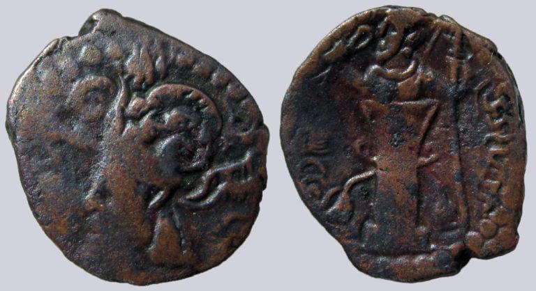 """Kidarites, AE drachm, """"Varahran"""" (II)"""