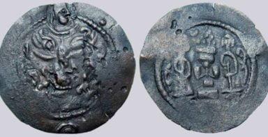 Western Turks, AE unit, Peroz-imitation with countermark, RRRR