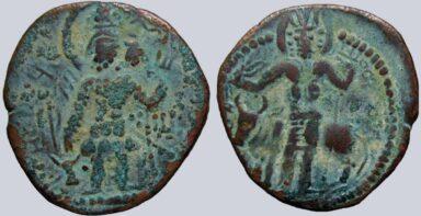 Kushano-Sasanians, AE drachm, Peroz I Kushanshah