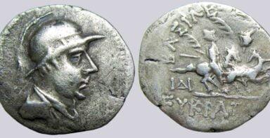 Bactrian Greeks, AR drachm, Eukratides I (175-145BC)