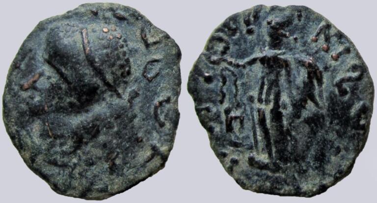 Kushans, AE drachm, Kujula Kadphises, bust left